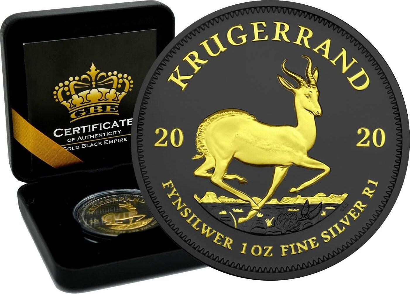 1 Rand 2020 Südafrika 1oz Silbermünze Krügerrand Ruthenium und Gilded Black Empire Stempelglanz Rutheniu Gilded