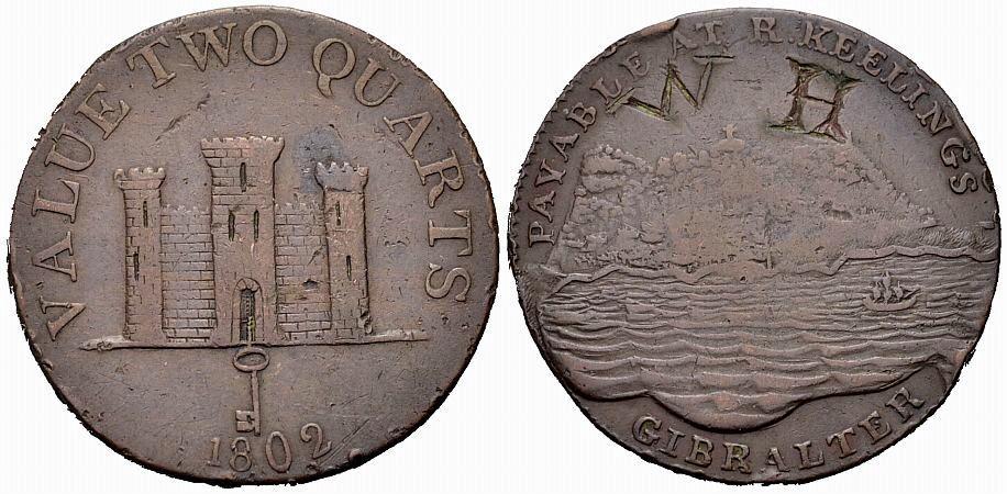 2 Quarts 1802 GIBRALTAR Ansicht des Felsens Schön-sehr schön
