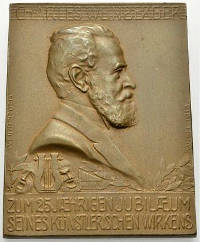 Bronzeplakette 1913 Charles Weinberger Operettenkomponist Vorzüglich