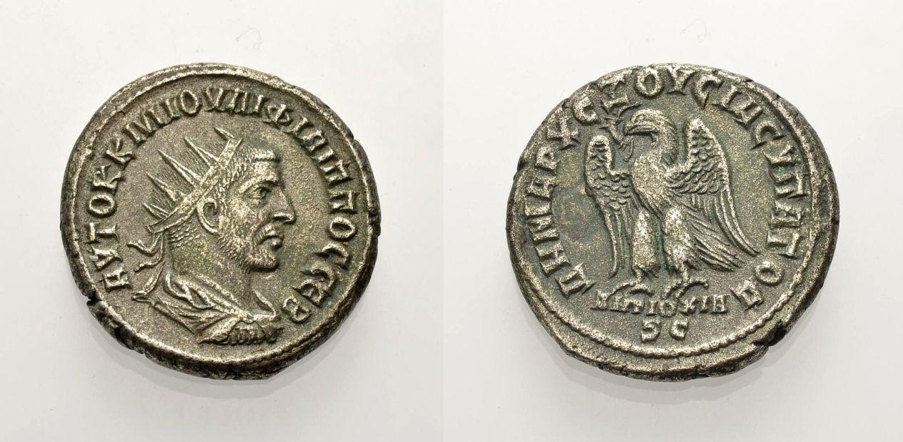 Billon-Tetradrachmon 248-249 GRIECHISCHE MÜNZEN UNTER ROM PHILIPPUS I. ARABS, ANTIOCHIA Sehr schön