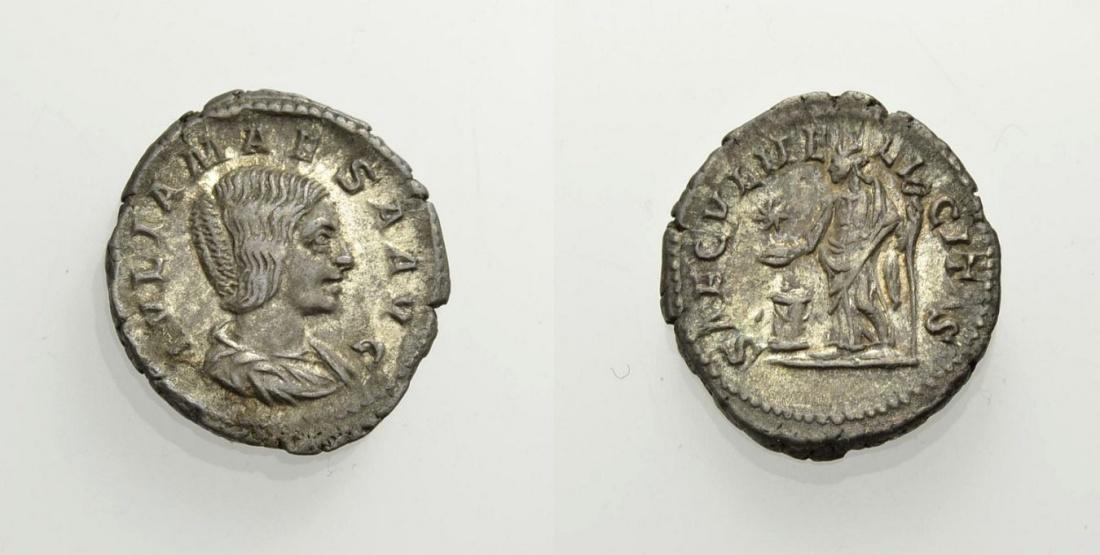 AR Denar 218-222 ROM, KAISERZEIT JULIA MAESA, GROSSMUTTER DES ELAGABAL Sehr schön