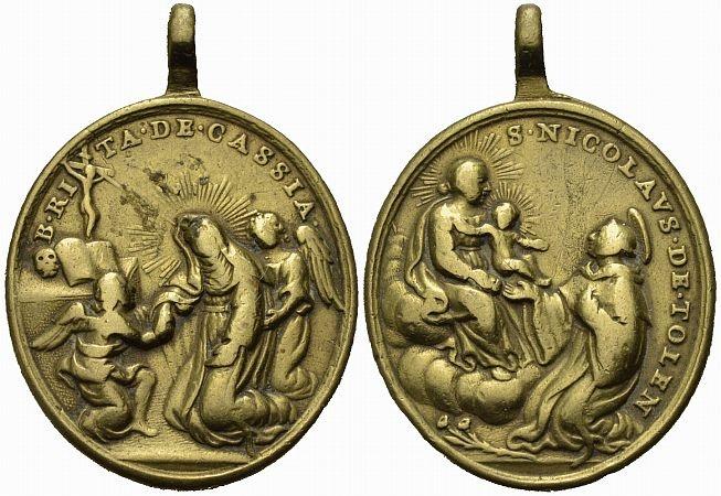 Bronzemedaille 18. Jh. Rita von Cascia Religiöse Medaille Schön-sehr schön