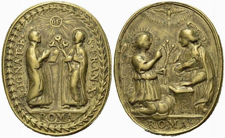 Bronzemedaille 18. Jh. Jesuiten Religiöse Medaille Sehr schön