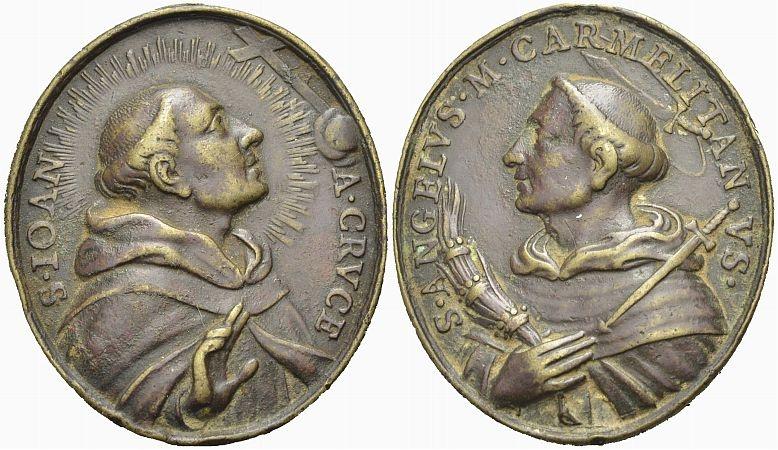 Bronzemedaille 18. Jh. Karmeliter Religiöse Medaille Sehr schön
