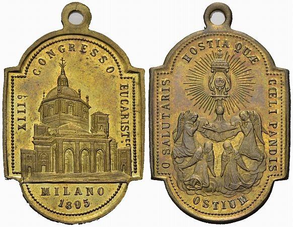 Messing-Anhänger 1895 Milano Religiöse Medaille Vorzüglich-Stempelglanz