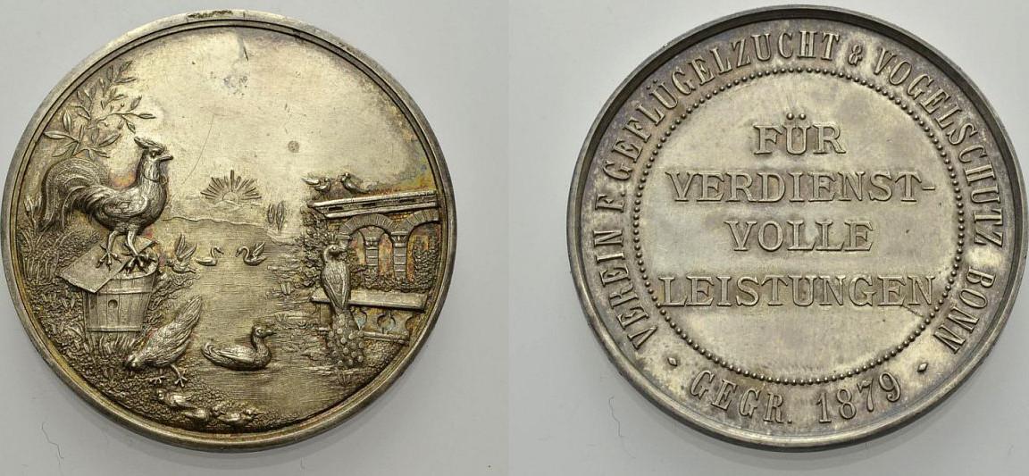 Silber-Medaille o. J. DEUTSCHLAND VEREIN FÜR GEFLÜGELZUCHT & VOGELSCHÜTZ, BONN Gutes sehr schön
