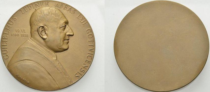 Bronzemedaille 1958 ÖSTERREICH STIFT GÖTTWEIG: WILHELM ZEDINEK Vorzüglich