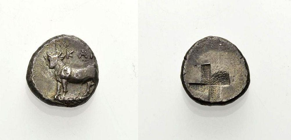 AR Triobol 387-340 v. Chr. GRIECHISCHE MÜNZEN BITHYNIEN: KALCHEDON Sehr schön
