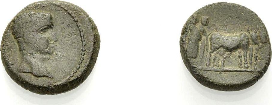 AE Kleinbronze 14-37 MAKEDONIEN PHILIPPI: TIBERIUS Schön-sehr schön