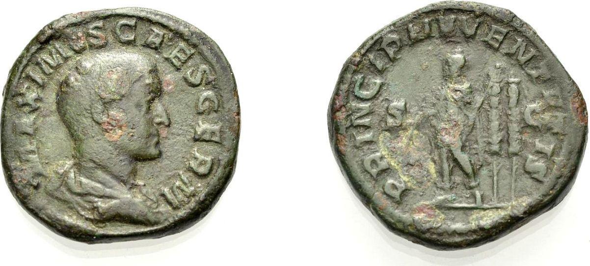 AE Sesterz 236-237 ROM, KAISERZEIT MAXIMUS CAESAR, SOHN DES MAXIMINUS I. THRAX Sehr schön