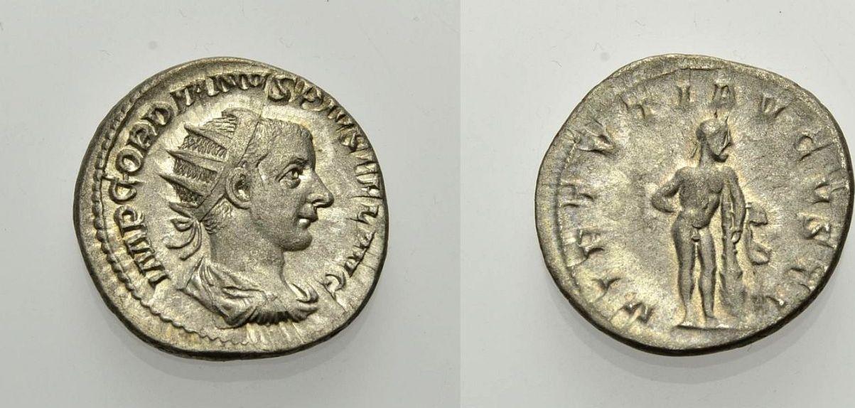 AR Antoninian 241-243 ROM, KAISERZEIT GORDIANUS III, HERCULES DARSTELLUNG Knapp vorzüglich, Rv. Sehr schön