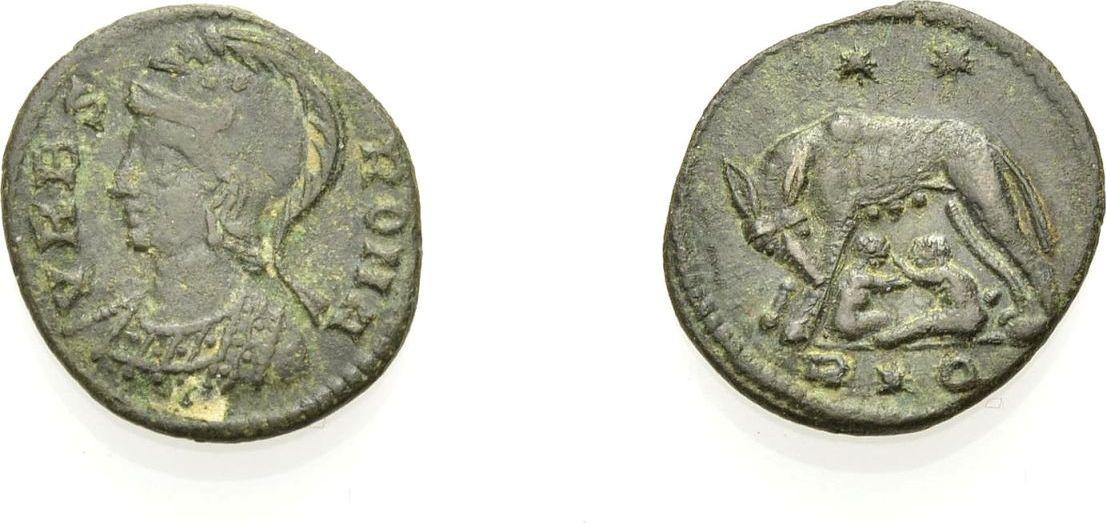 AE Kleinbronze 336-337 ROM, KAISERZEIT URBS ROMA (CONSTANTINISCHE ZEIT). ROMULUS & REMUS DARSTELLUNG Sehr schön, Rv. Vorzüglich