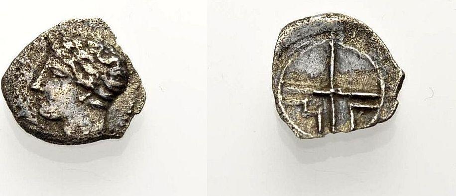 AR Obol 4. Jh. v Chr. GRIECHISCHE MÜNZEN GALLIEN: MASSALIA (MARSEILLE) Knapp sehr schön
