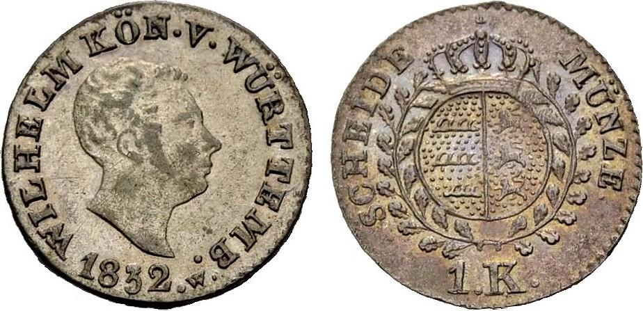Kreutzer 1832 WÜRTTEMBERG, KÖNIGREICH WILHELM I. Vorzüglich