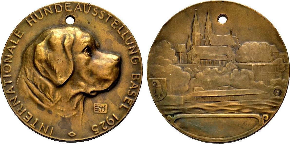 Bronzemedaille 1925 BASLER MEDAILLEN HANS FREI: INTERNATIONALE HUNDEAUSTELLUNG Vorzüglich