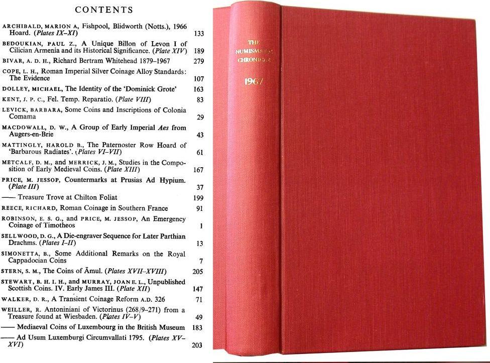 1967 NUMISMATIC CHRONICLE
