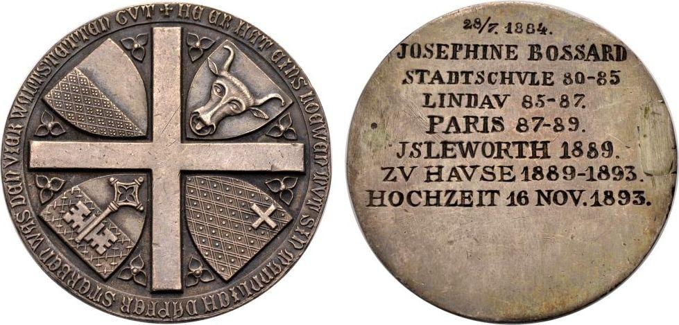 Medaille 1893 SCHWEIZ Hochzeit Vorzüglich