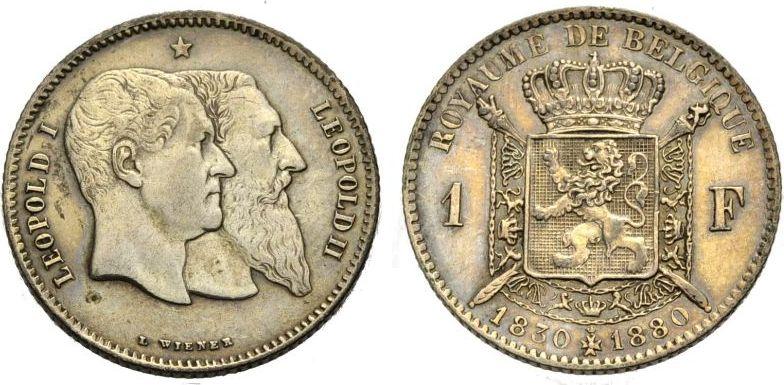 Franc 1880 BELGIEN zum 50jährigen Bestehen des Staates Sehr schön-vorzüglich