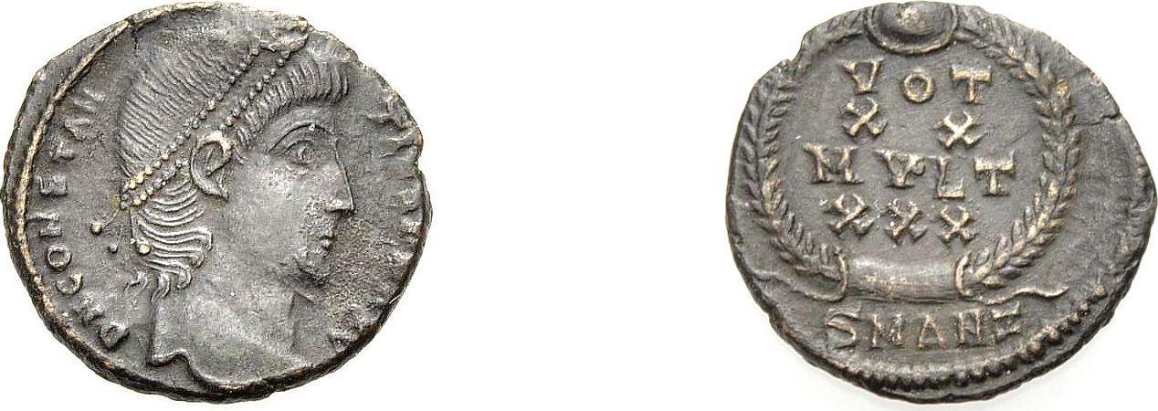 AE Kleinbronze 347-348 ROM, KAISERZEIT CONSTANTIUS II., ANTIOCHIA Gutes sehr schön