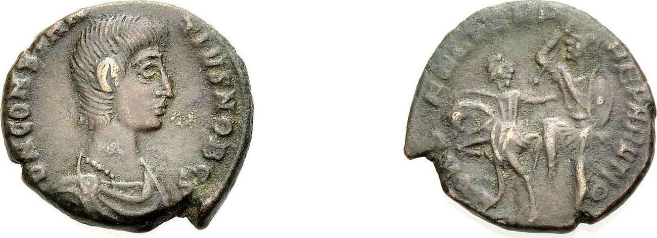 AE Kleinbronze 351-354 ROM, KAISERZEIT CONSTANTIUS GALLUS CAESAR Knapp sehr schön