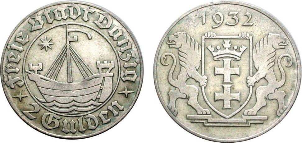 2 Gulden 1932 DANZIG Sehr schön