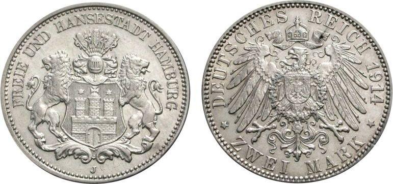 2 Mark 1914 HAMBURG Vorzüglich