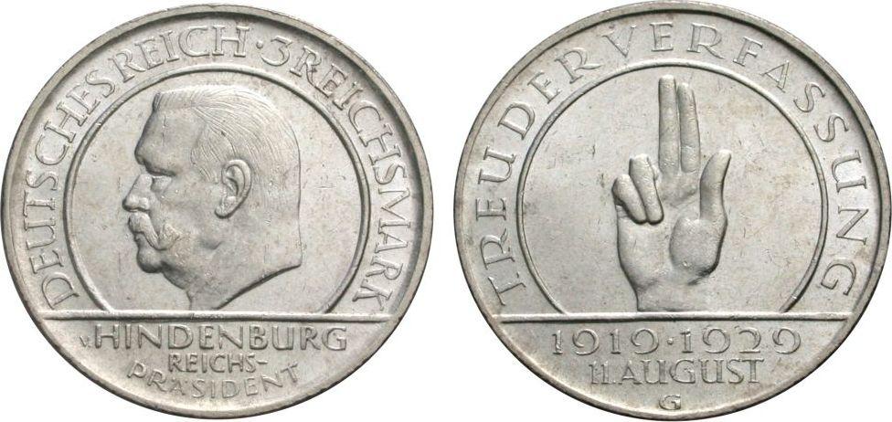 3 Mark 1929 G WEIMARER REPUBLIK Verfassung Vorzüglich