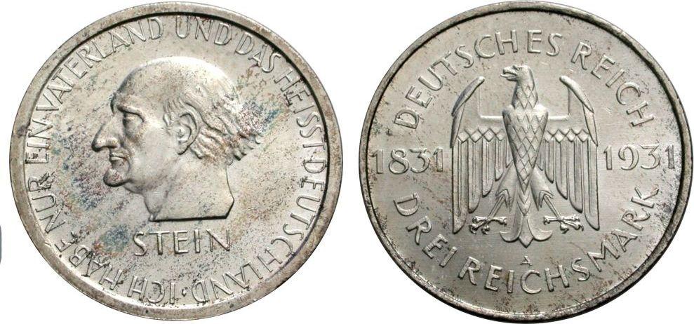 3 Mark 1931 A WEIMARER REPUBLIK Frh. vom Stein Vorzüglich