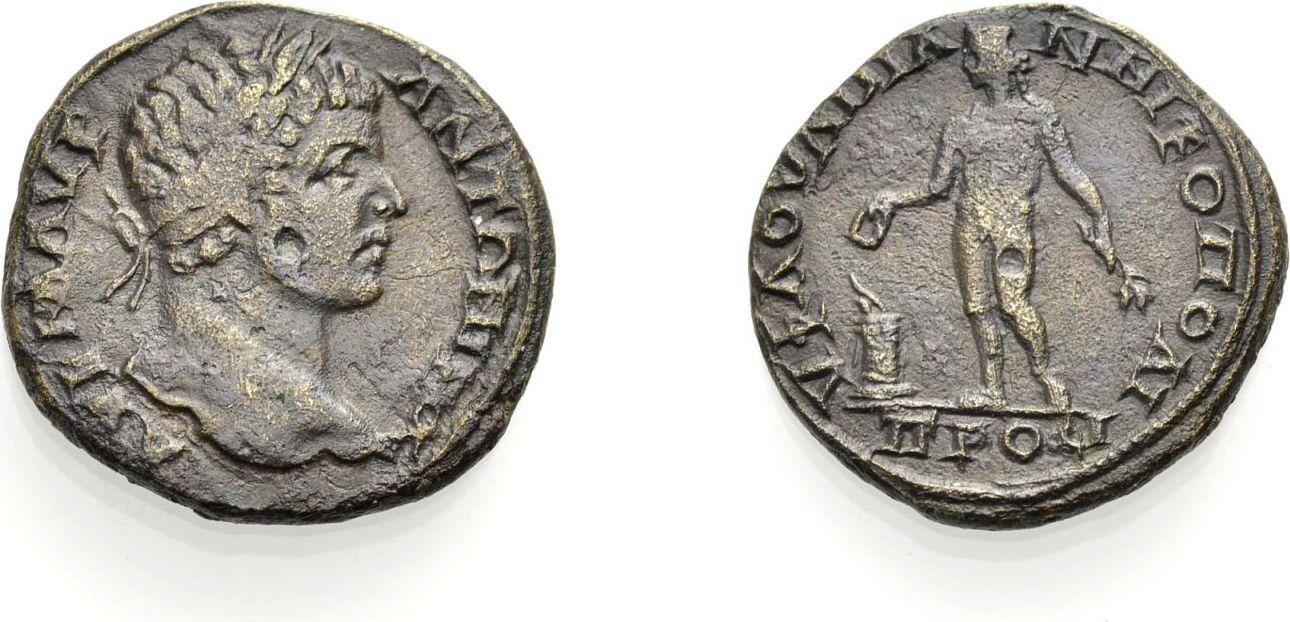 AE Bronze 198-217 GRIECHISCHE MÜNZEN UNTER ROM MOESIA INFERIOR, NIKOPOLIS, UNTER CARACALLA Gutes sehr schön