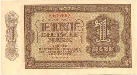 Banknote 1948 DEUTSCHLAND, DEUTSCHE NOTENBANK. Eine Deutsche Mark. I