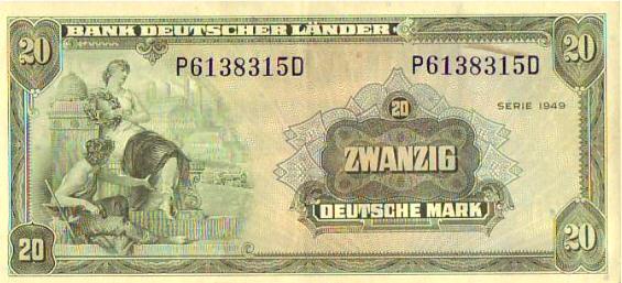 Banknote. 1949 DEUTSCHLAND, BANK DEUTSCHER LÄNDER. Zwanzig Deutsche ...