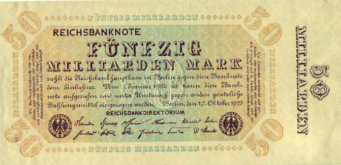Reichsbanknote 1923 DEUTSCHLAND 50 Milliarden Mark. III
