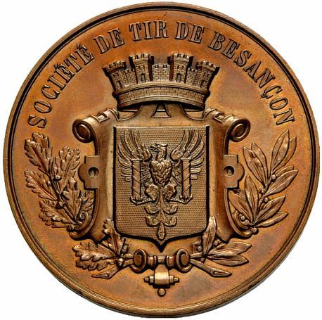 Bronzemedaille o. J. Besançon Schützenmedaille. Vorzüglich-Stempelglanz