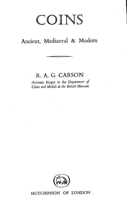 1962 CARSON, R.A.G. COINS. ANCIENT, MEDIAEVAL & MODERN. II