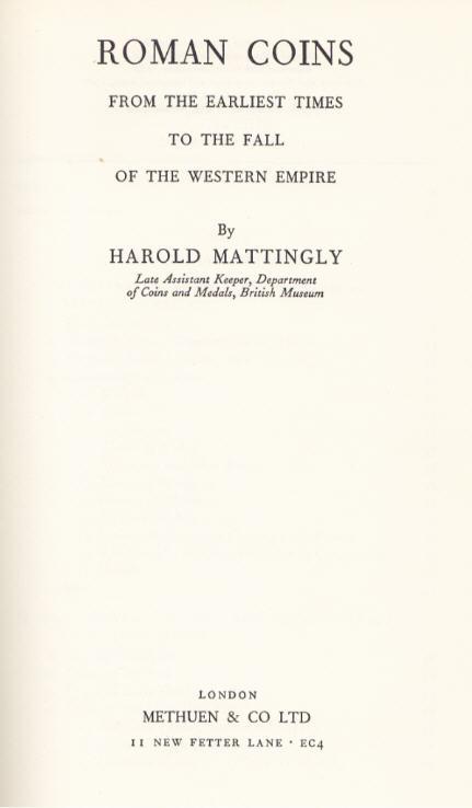 1967 MATTINGLY, H. ROMAN COINS. II-III