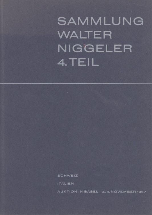 Auktionskatalog 1967 MÜNZEN & MEDAILLEN AG, Basel SLG. NIGGELER TEIL IV: SCHWEIZ, ITALIEN III