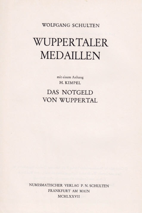 1977 SCHULTEN, W. WUPPERTALER MEDAILLEN. II