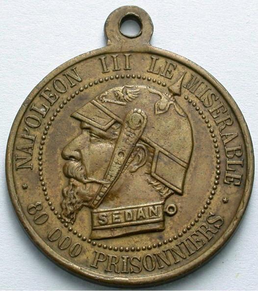 Messingmedaille 1870 FRANKREICH. Spottmedaille. Vorzüglich