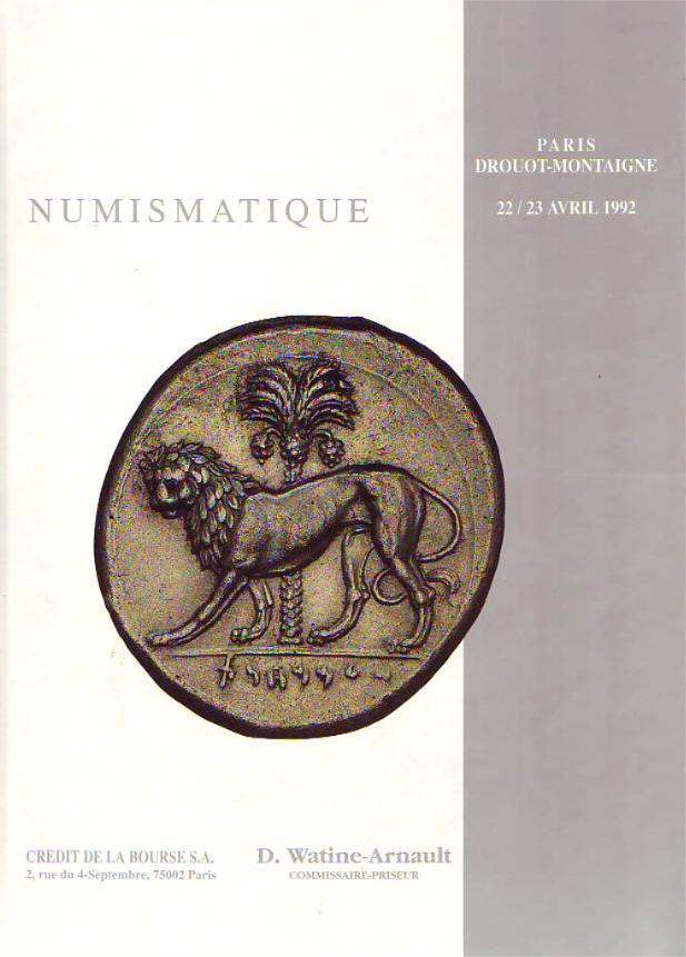 Auktionskatalog 1992 CREDIT DE LA BOURSE MONNAIES D'OR ET D'ARGENT. II