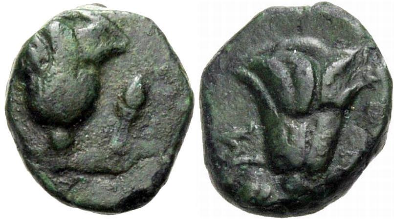 AE Kleinbronze 205-188 v. Chr. GRIECHISCHE MÜNZEN RHODOS Sehr schön