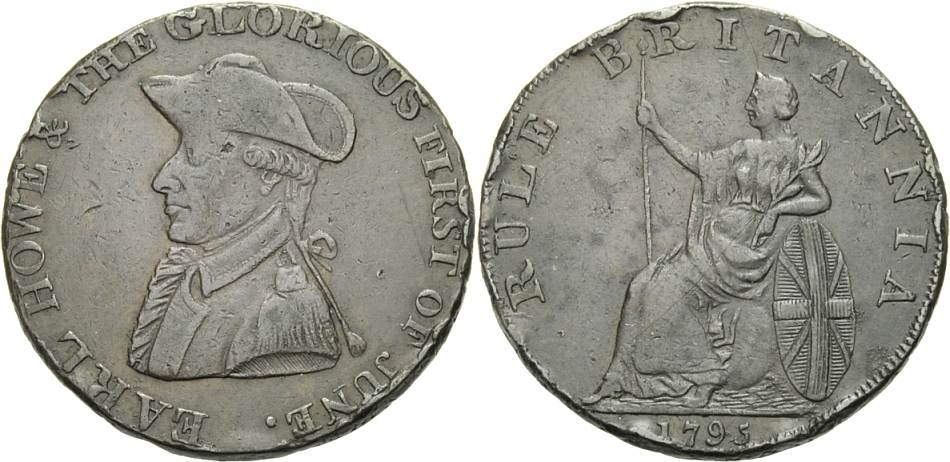 Cu Halfpenny Token 1795 BRITISCHE TRADE TOKEN HALFPENNY, EMSWORTH Knapp sehr schön