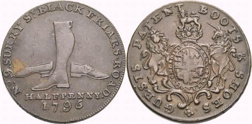 Cu Halfpenny Token 1795 BRITISCHE TRADE TOKEN MIDDLESEX: LONDON: GUEST'S Sehr schön