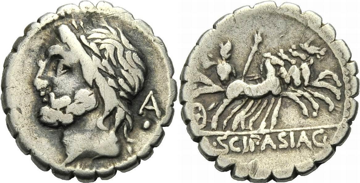 Serratus 106 v. Chr. ROM, REPUBLIK L. SCIPIO ASIAGENUS Sehr schön