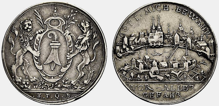 Medaille BASEL Stadtansicht Sehr schön