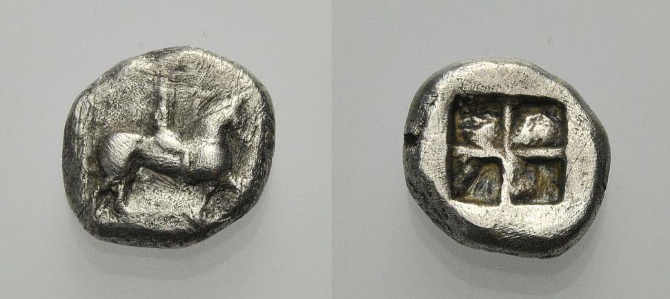 AR Triobol ca. 480-450 v. GRIECHISCHE MÜNZEN THRAKO-MAKEDONISCHE STÄMME Fast sehr schön, Rv. Sehr schön