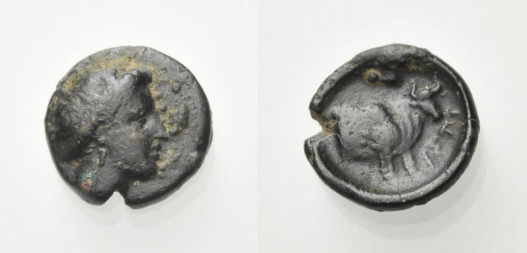 AE Kleinbronze 3. Jh.-146 v. C GRIECHISCHE MÜNZEN EUBOIA Knapp sehr schön