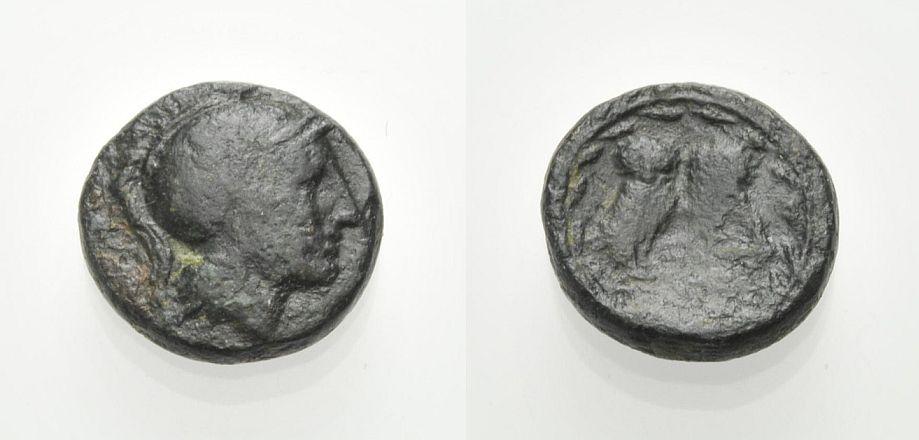 AE Kleinbronze 225-229 v. Chr. GRIECHISCHE MÜNZEN ATHEN: KLEINBRONZE Knapp sehr schön