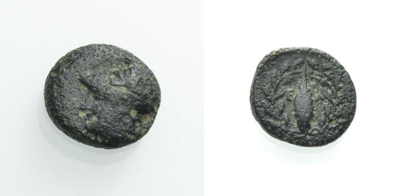 AE Kleinbronze 340-300 v. Chr. GRIECHISCHE MÜNZEN AIOLIS: ELAIA Sehr schön
