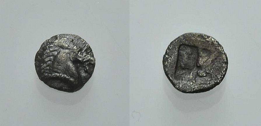 AR Viertelobol 480-450 v. Chr. GRIECHISCHE MÜNZEN AIOLIS: KYME Sehr schön
