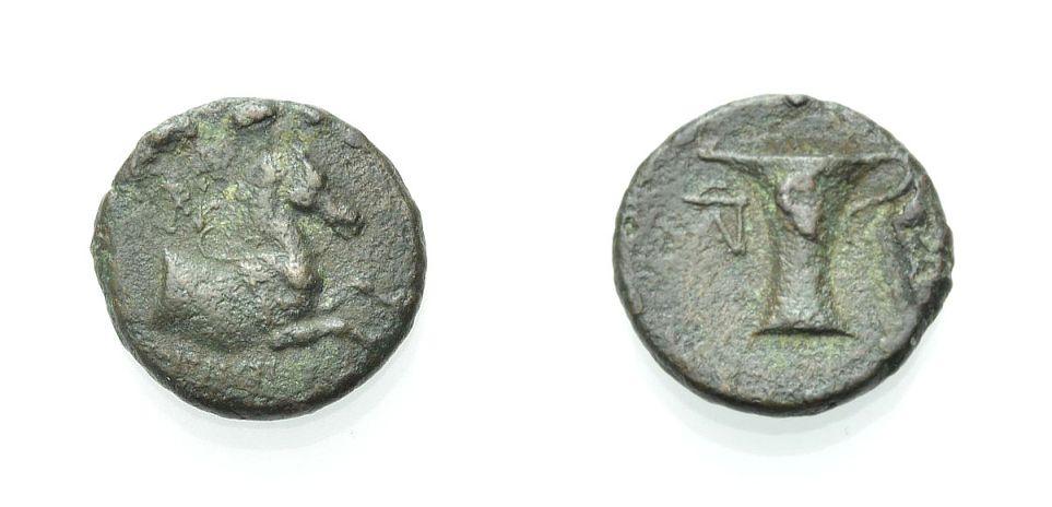 AE Kleinbronze c. 350-250 v. C GRIECHISCHE MÜNZEN AIOLIS: KYME Knapp sehr schön